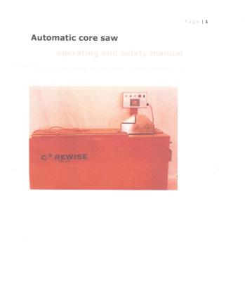 Corewise Automatic Core Saw Manual